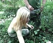 Skinny Young Girl outdoors with strangers